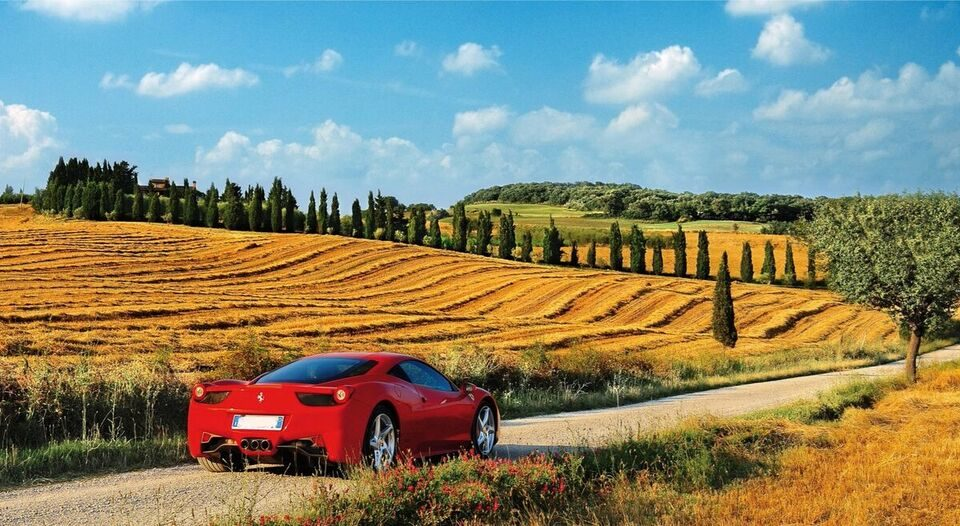Italian Food And Wine Tourism, Landscapes And Supercars